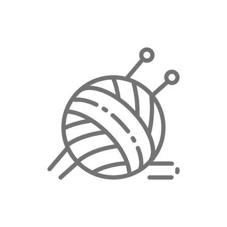 Vector ball yarn with knitting needles line icon. Symbol and sign illustration design. Isolated on white background