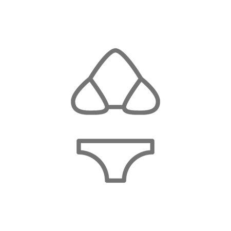 Swimsuit, bikini, beachwear line icon.