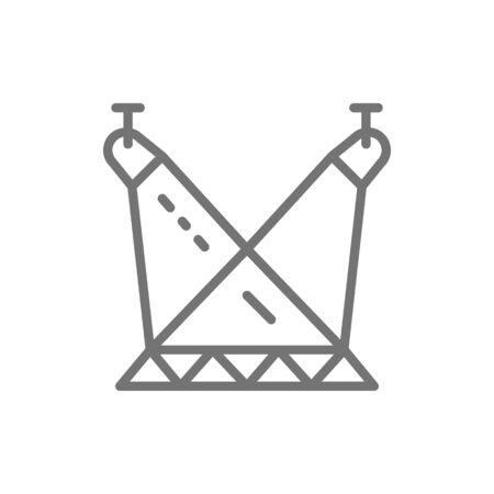 Vector scene illumination, spotlights on circus arena line icon. Symbol and sign illustration design. Isolated on white background