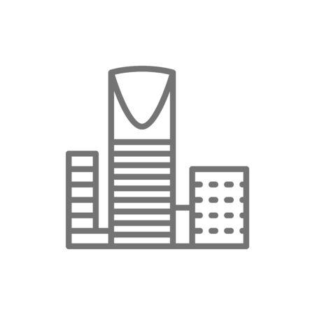 Burj Al-Mamlyak, Kingdom Center, skyscraper line icon. Illustration
