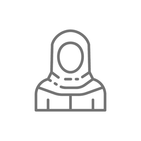 Arabian woman in traditional national dress, bedouin line icon.