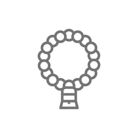 Natural muslim rosary line icon. Foto de archivo - 125654653