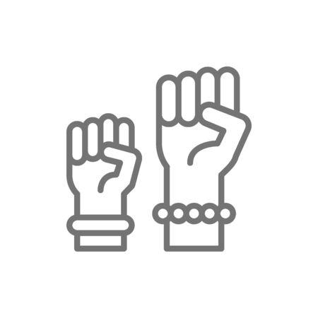 Símbolo de protesta del feminismo, icono de la línea eléctrica de las mujeres. Ilustración de vector