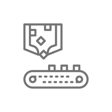Robotic sorting arm with conveyor belt, metallurgy production line icon.