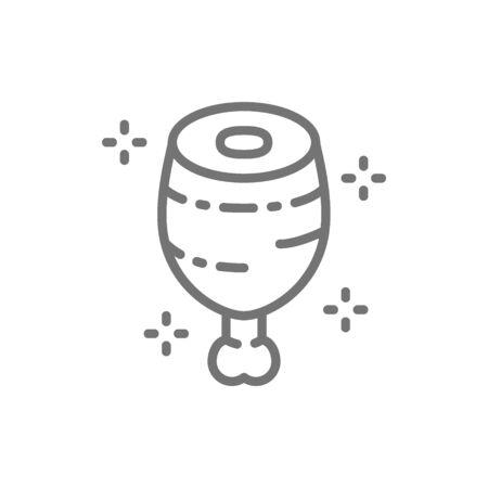 Vektorfleisch, Schweinshaxe, prähistorisches Essen Symbol Leitung. Symbol- und Zeichenillustrationsdesign. Isoliert auf weißem Hintergrund