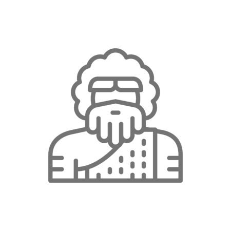Primitive man, homo sapiens, Neanderthal, Pithecanthropus line icon. 일러스트