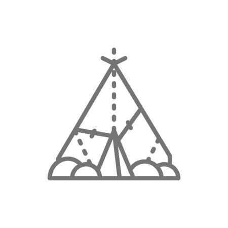 Indian wigwam, prehistoric house, primitive home line icon.