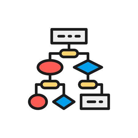 Vector algorithm, coding block schemes, api software flat color line icon. Symbol and sign illustration design. Isolated on white background Illustration