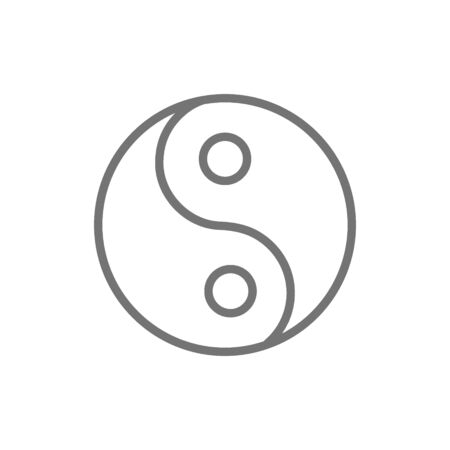 Yin yang sign, traditional chinese symbol line icon.