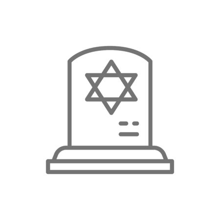 Tombstone with the star of david, gravestones, grave line icon. 向量圖像