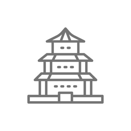 Vector Chinese temple, traditional church line icon. Иллюстрация