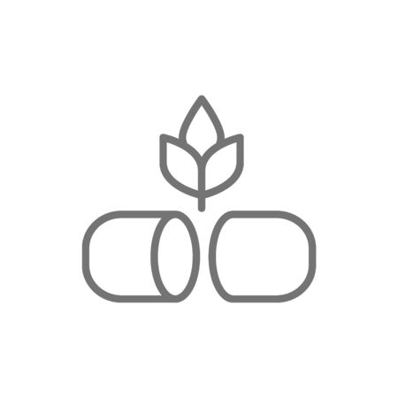 Plant with pill, herbal medicine line icon.