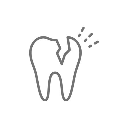 Vector broken tooth, dental problem line icon. Zdjęcie Seryjne - 129135149