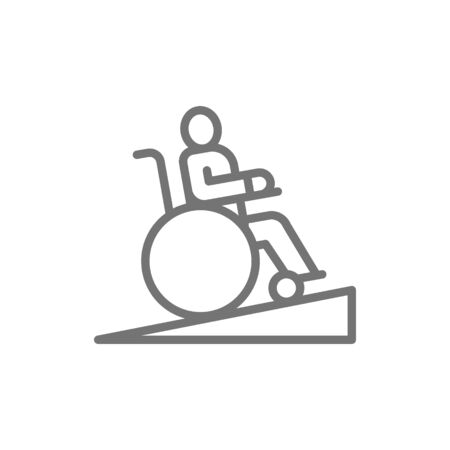 Man in wheelchair, wheelchair ramp, people with mobility problems line icon.