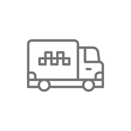 Vector cargo taxi, truck, delivery line icon.