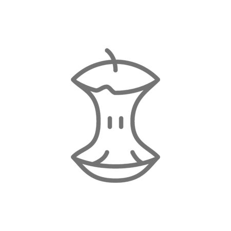 Apple core, food waste, garbage line icon.