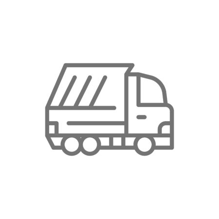 Vector garbage truck, waste vehicle line icon.