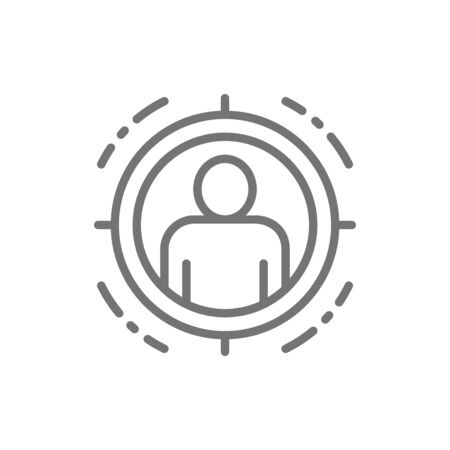 Man in target scope, identity check line icon.