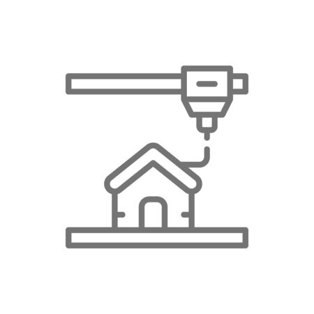 3d printing a house, industrial printer line icon.