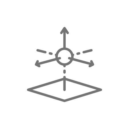 Vector 3D product modeling, 3 dimensional model line icon. Symbol and sign illustration design. Isolated on white background Ilustração