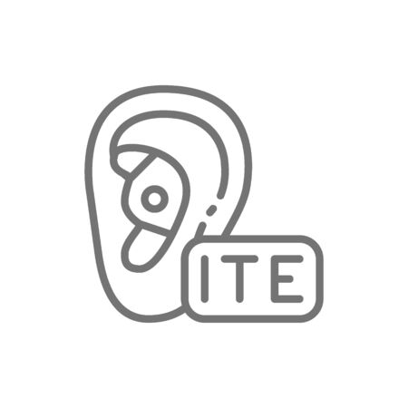 In The Ear Hearing Aid, ITE line icon.