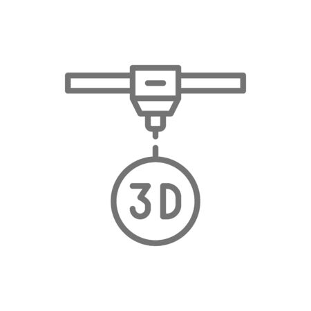 Vector 3d modeling, industrial printer, 3 dimensional model line icon. Symbol and sign illustration design. Isolated on white background
