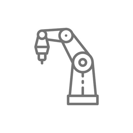 Vector robotic arm for 3d printer line icon. Symbol and sign illustration design. Isolated on white background