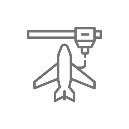 Vector 3d printing a toy airplane model, industrial printer line icon. Symbol and sign illustration design. Isolated on white background Ilustração