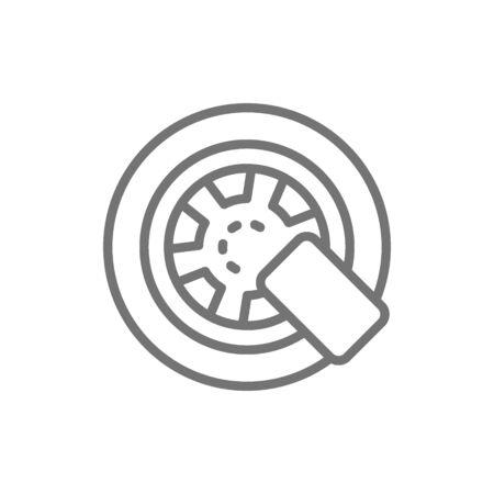 Car wheel lock line icon. Isolated on white background