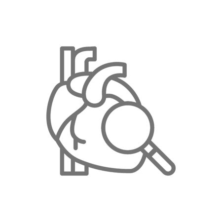 Loupe with heart, heart check line icon.
