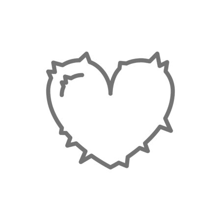 Heart attack, pain in heart line icon.