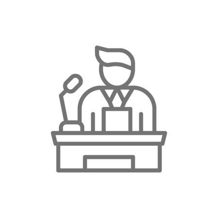 Speaker, people on podium speech, conference presentation speech line icon. Stock Illustratie