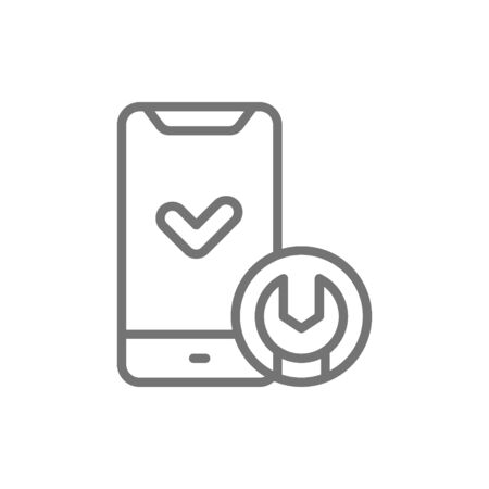 Vector phone with wrench, smartphone repair line icon. Symbol and sign illustration design. Isolated on white background Foto de archivo - 129811896