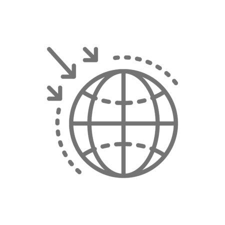 Destruction of the ozone layer line icon.