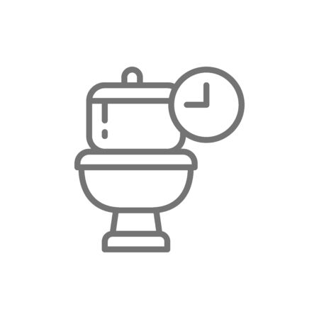 Frequent toilet visits, long time in WC line icon.