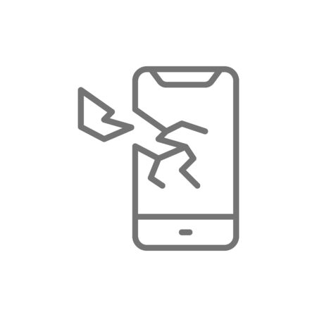 Vector broken smartphone, phone crashed line icon. Symbol and sign illustration design. Isolated on white background