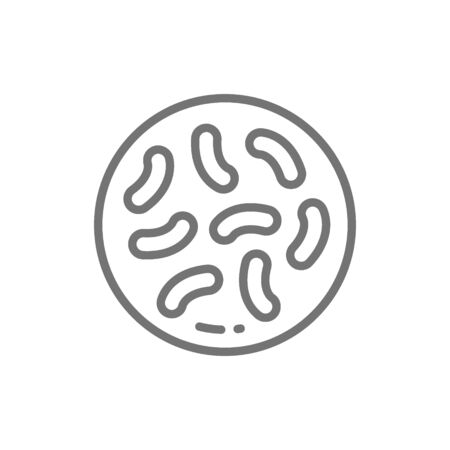 Probiotics, lactobacilli, bifidobacteria line icon. Isolated on white background