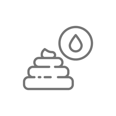 Liquid feces, indigestion line icon. Isolated on white background 向量圖像
