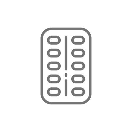 Probiotics, good bacteria in tablets line icon.