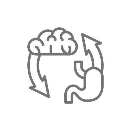 Vector brain exchange stomach, addiction line icon. 向量圖像