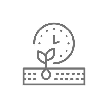 Plant ripening period, seed planting, agriculture line icon.