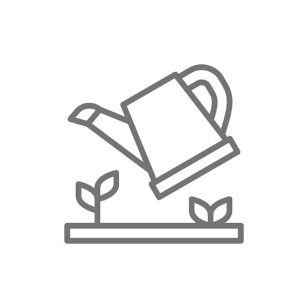 Vector watering plants, watering can line icon. Ilustração