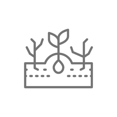 Plant with weeds, weed control line icon.