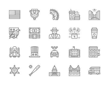 Set of American Culture Line Icons. Bald Eagle, Dollar, Cowboys, Casino and more 일러스트