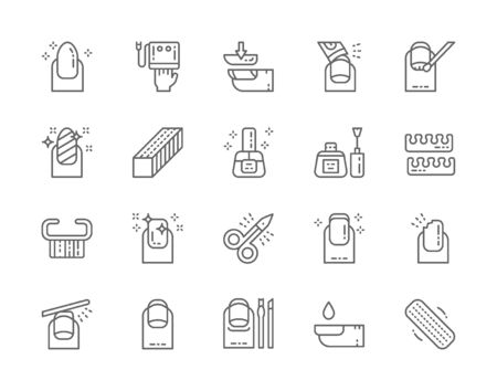 Set of Nail Salon Line Icons. Scissors, Extended Nails, Polish Remover and more.