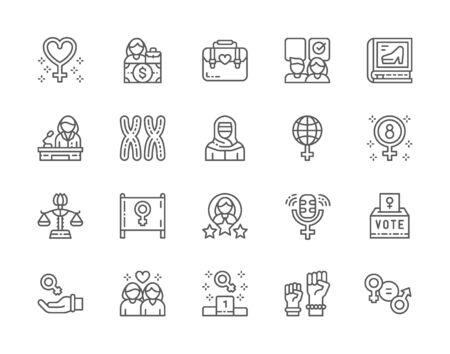 Set of Feminism Line Icons. Female Protest, Salary, Gender Gap, Lesbian and more Иллюстрация