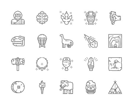 Set of Prehistoric Age Line Icons. Neanderthal, Dinosaur, Primitive Axe and more Иллюстрация
