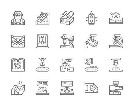 Conjunto de iconos de línea de la industria metalúrgica. Máquina de corte de metales, transportador y más.