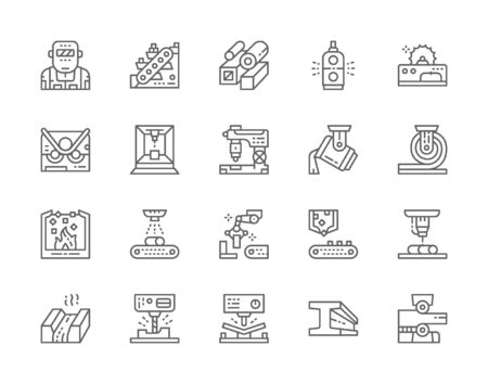 Set of Metallurgy Industry Line Icons. Metal-cutting Machine, Conveyor and more.