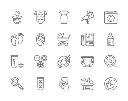 Set of Pregnancy Line Icons. Baby Bottle, Kids Bodysuit, Newborn, Dna and more.